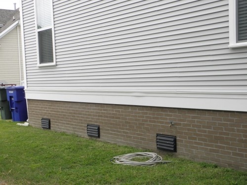 Engineered Flood Vents On House Crawl Space Door Systems